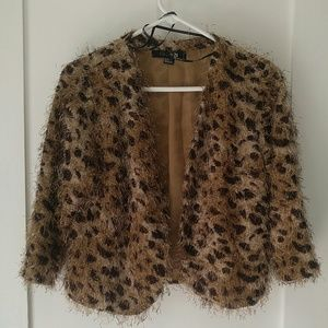 Leopard animal print fuzzy shrug vest brown black